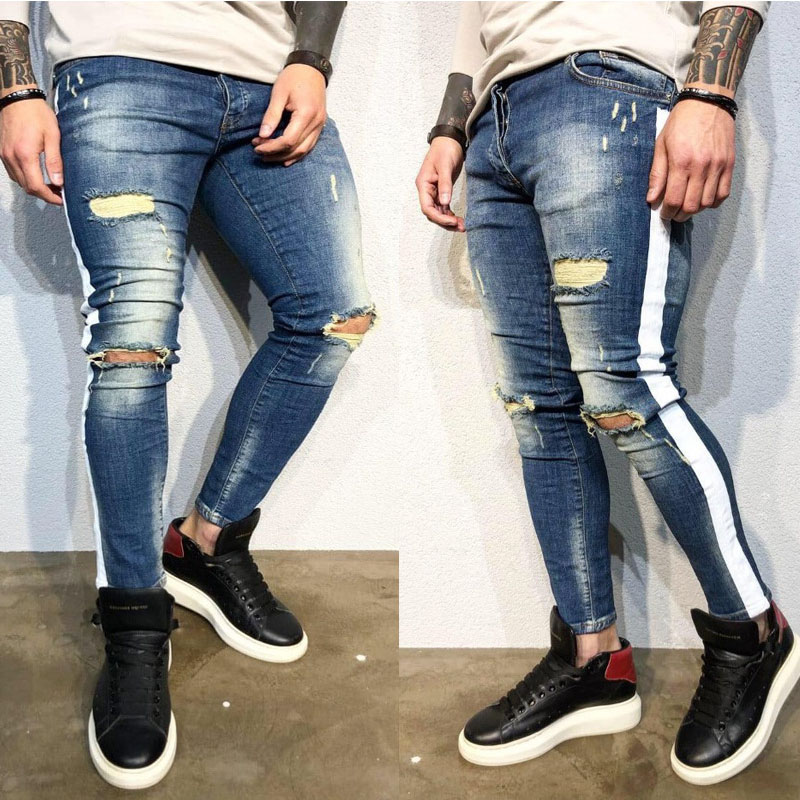 New Cotton Men's Hole   Jeans   Men's High Quality Scratch   Jeans   Brand Men's Slim Street Trousers Fashion Side White   Jeans