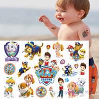 Pata patrulha dos desenhos animados tatuagem temporária etiqueta para meninos crianças brinquedos tatoo pasta de papel à prova dwaterproof água festa presente dos miúdos