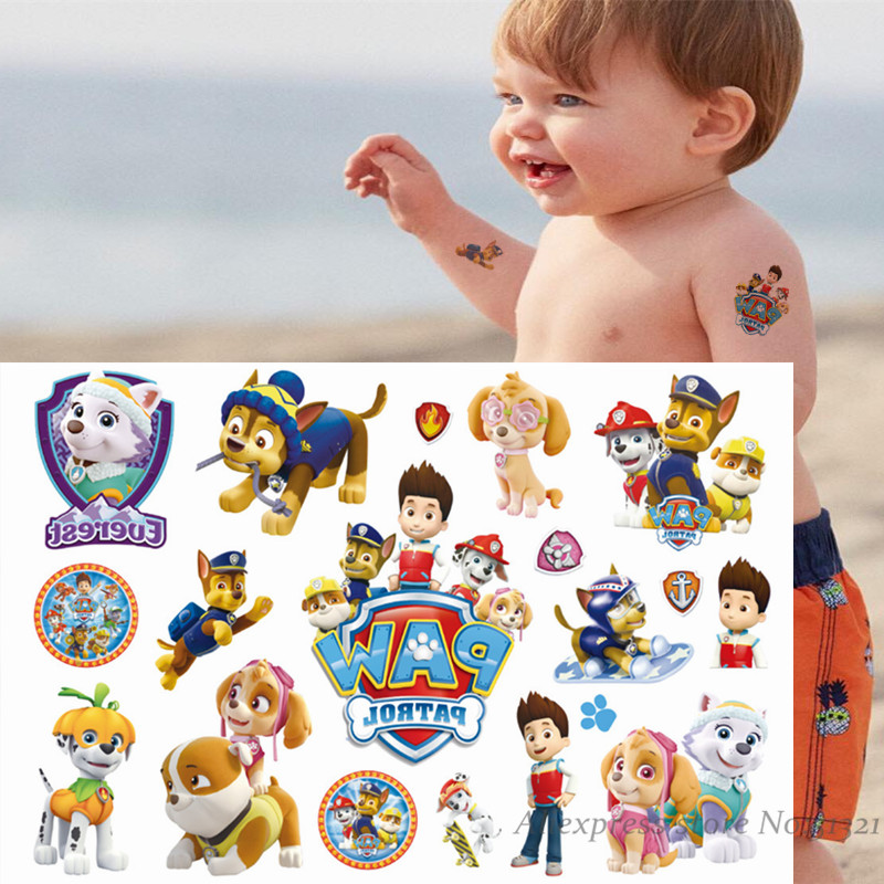 Paw Patrol Cartoon Temporary Tattoo Sticker For Boys Children Toys Tatoo Paper Paste Waterproof Party Kids Gift