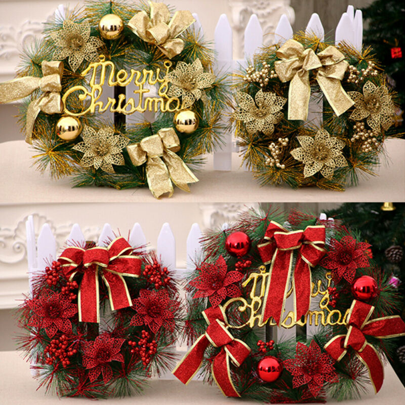 New Christmas Wreath Hanging Decor For Xmas Party Door Wall Garland Ornament Decors
