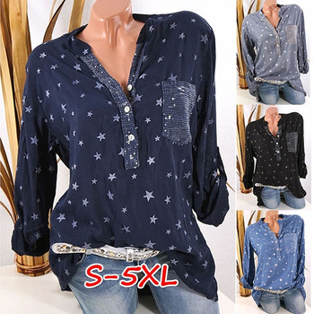 Large size womens shirt 2020 new blouse long-sleeved V-neck button printed casual fashion S-5XL
