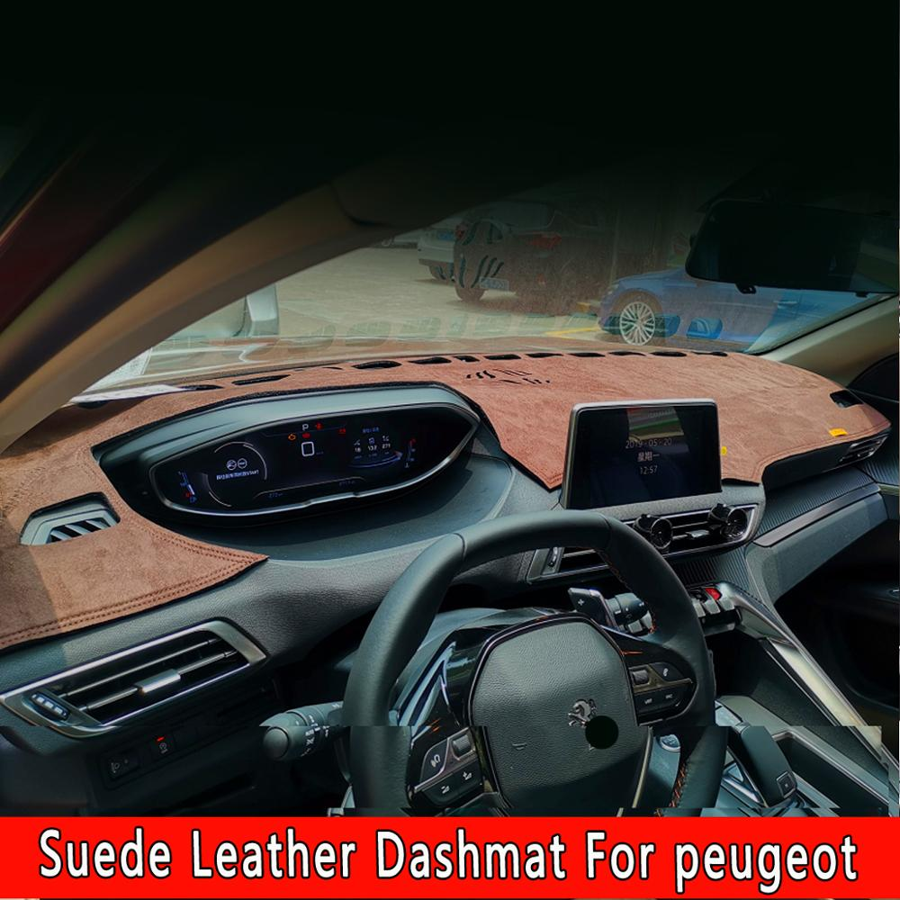 For Peugeot 208 2008 308 408 308s 307 301 4008 3008 5008 508 Suede Leather Dashmat Dashboard Covers Pad Dash Mat Car-styling