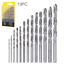 13pcs HHS 4241 Twist Drill Bits Hole Foret HSS Spiralbohrer Metaalboren with Straight Shank for Drilling Aluminum Plastic Wood