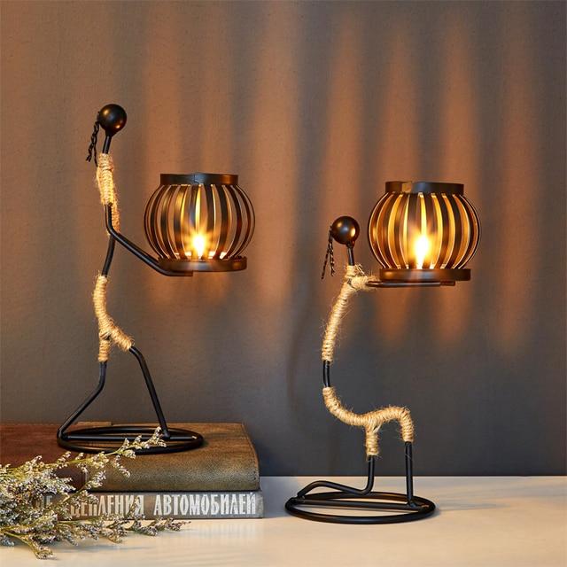 Creative Candle Holder Iron Home Decoration Kitchen Restaurant Romantic Candlestick Christmas Halloween Bar Party Wedding Decor 6
