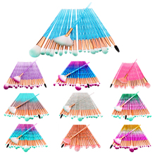 20pcs Diamond Makeup Brush Set Eye Brush Beauty Tools Fan Powder Eyeshadow Contour Beauty Cosmetic Colorful For Make Up Tool new coastal scents 22 pieces makeup brushes make up brush set eyeshadow contour powder contour cream brush tools dhl free shipp