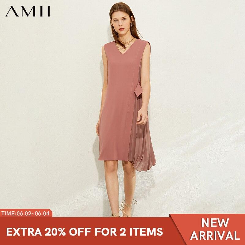 AMII Minimalism Spring Summer Fashion Splice Pleated Dress Women Vneck Sleeveless Knee-length Dress 12070255