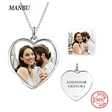 New personalized 925 sterling silver heart shape necklace custom photo Pendant Chain Necklace Jewelry For Women anniversary gift manbu personalized custom superman necklace sterling silver chain necklace for women men jewelry anniversary gift free shipping