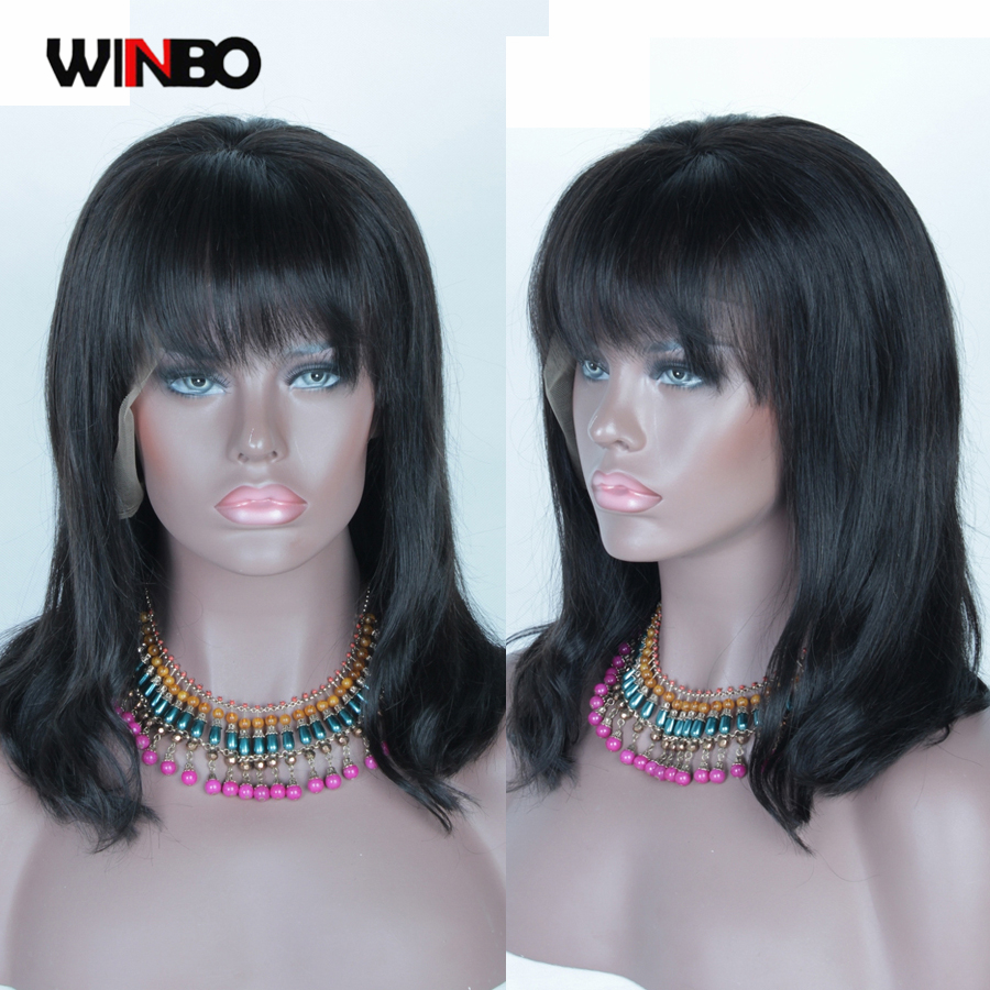 WINBO Human Hair Wig Front Bang BoB 13x6 Lace Frontal Wigs Remy Hair Black Women Wigs 13x4 Lace Front Wigs Natural Black Color