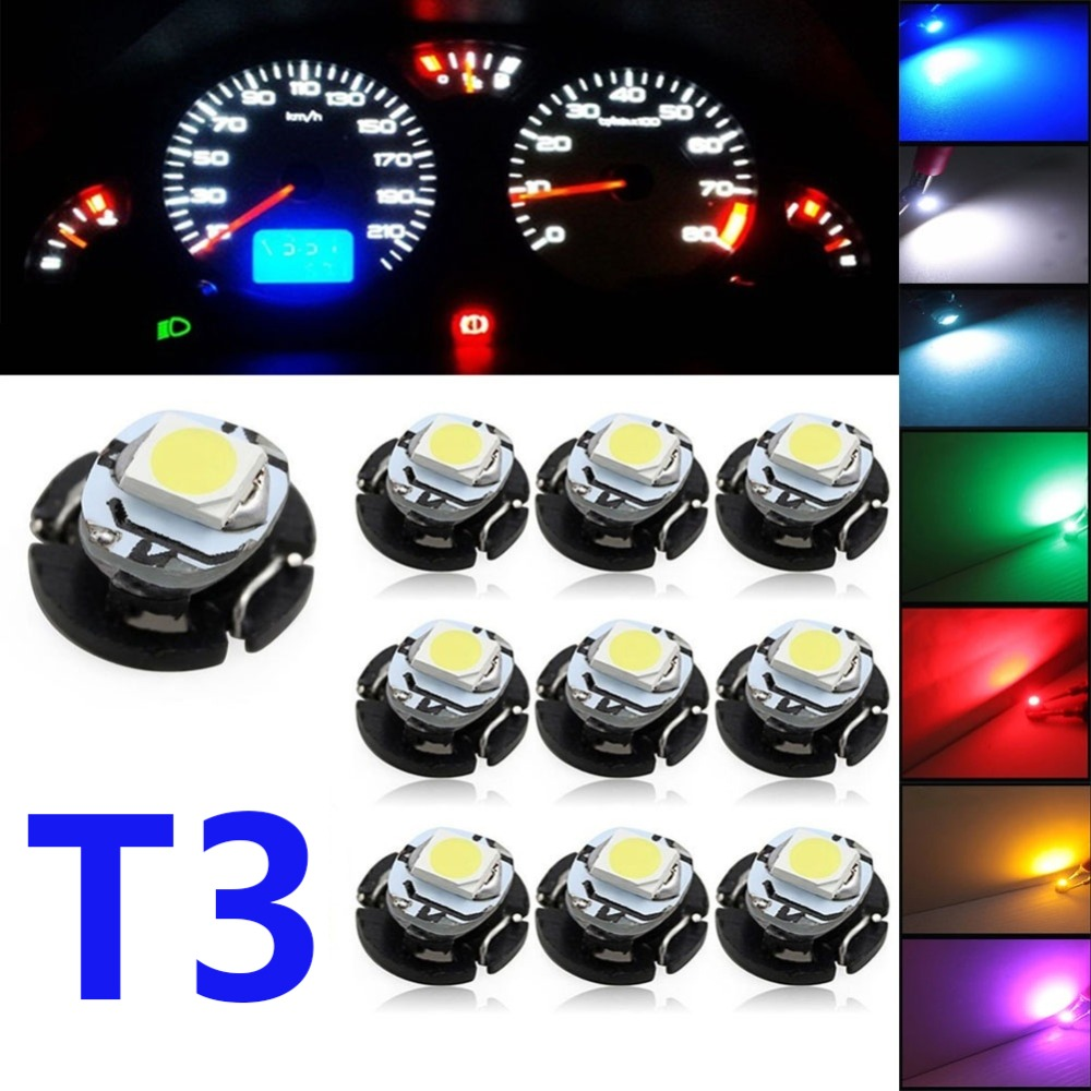 bleu Neo Wedge LED pour tableau de bord T3 Lot de 10 ampoules LED T3 12 V 0,2 W pour tableau de bord