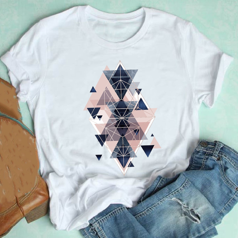 Women Short Sleeve Cute Geometric Aesthetic Trend Casual 90s Style Fashion Clothes Print Tshirt Female Tee Top Graphic T shirt