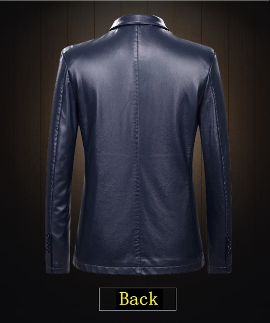 Fall 2021 New Suit Leather Jacket Business Fashion Men's Jacket Men's Slim Fit Leather leather jacket Leather suit for men 4