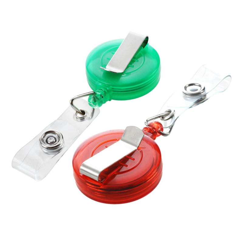 2 Pcs Retractable Ski Pass ID Card Badge Holder Key Chain Reels With Clip , Green & Red