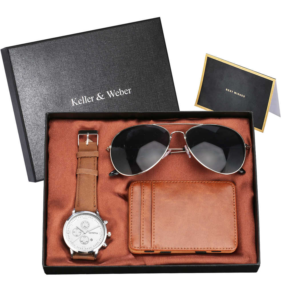 ใหม่แฟชั่นผู้ชายชุดของขวัญนาฬิกาควอตซ์ชายนาฬิกา Cool แว่นตากันแดดคุณภาพสูงกรณีบัตรเครดิต/กระเป๋าสตางค์ TOP ของขวัญกล่อง
