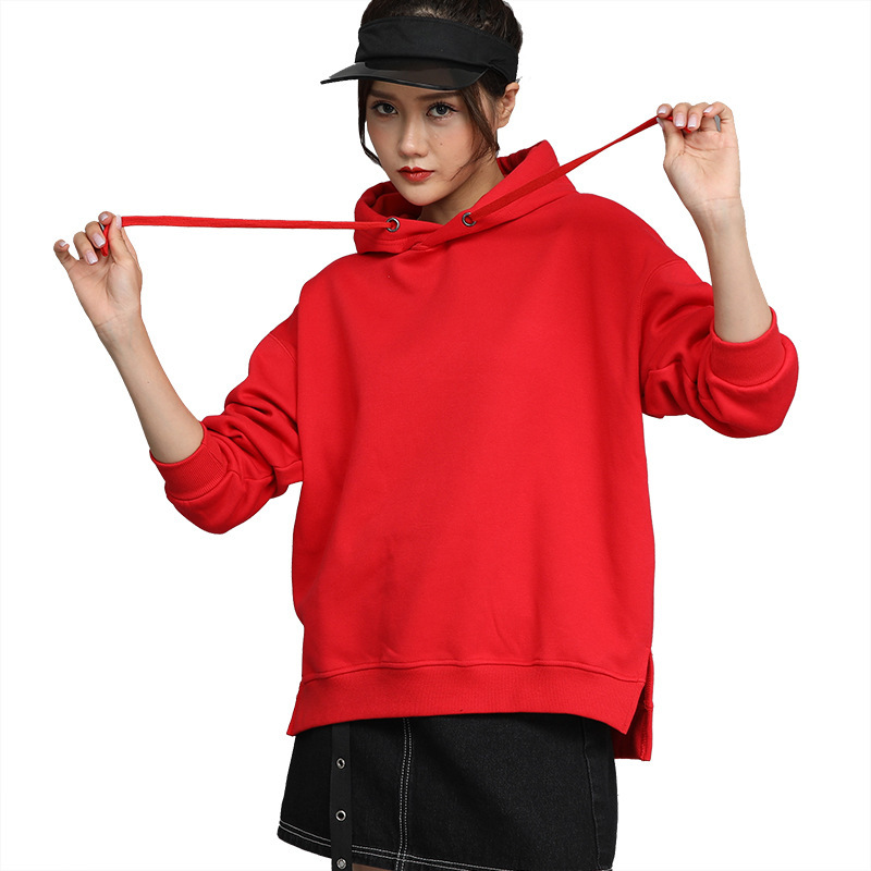 2019 Autumn And Winter New Style Pull-up Hooded Sweater Korean Version Of The Fall Shoulder Women's Terry Sweater Overalls