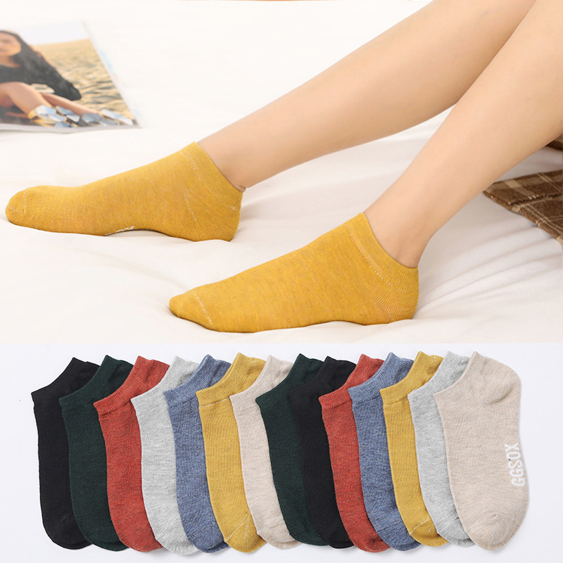 10 Pieces = 5 Pairs Women Invisible Cotton Sock Slippers Lady Female Summer Casual Fashion Soft Short Ankle Shallow Mouth Socks