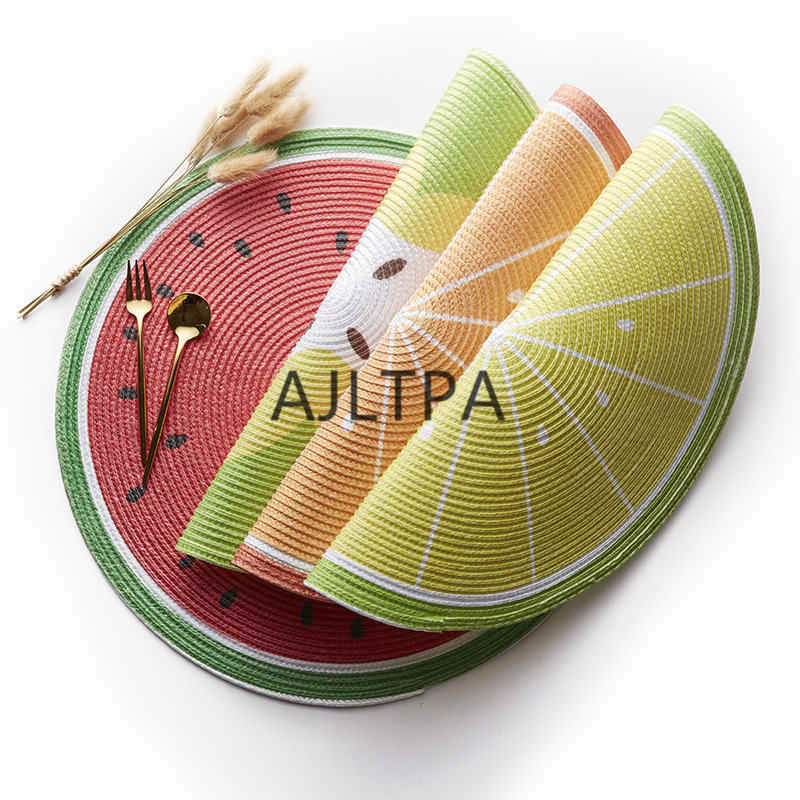50 stks/partij Tafel Mat Hot Coaster Fruit Vorm Pad Slip Isolatie Cup Mat Servies Placemat Fruit Coaster Mat CT0330