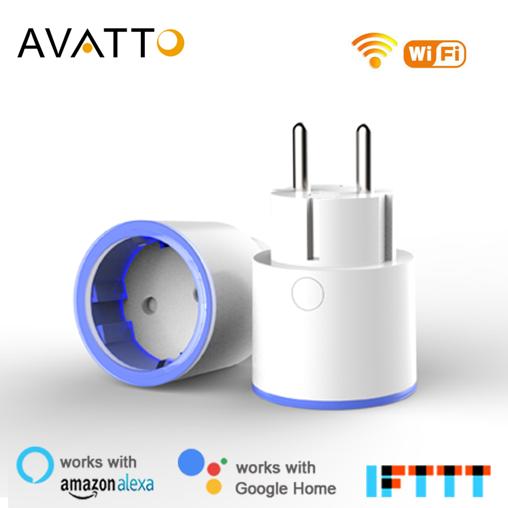 AVATTO Smart Plug 10A <font><b>EU</b></font> <font><b>Remote</b></font> Voice Control electric wall pop <font><b>socket</b></font>,power plug work with Tuya App Work with Google Home Alexa image