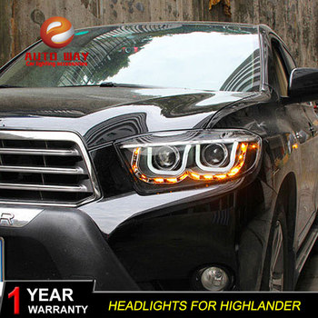 Car Styling Case for Toyota Highlander Headlights 2009-2011 highlander LED Headlight HID LED DRL Dynamic turn signal