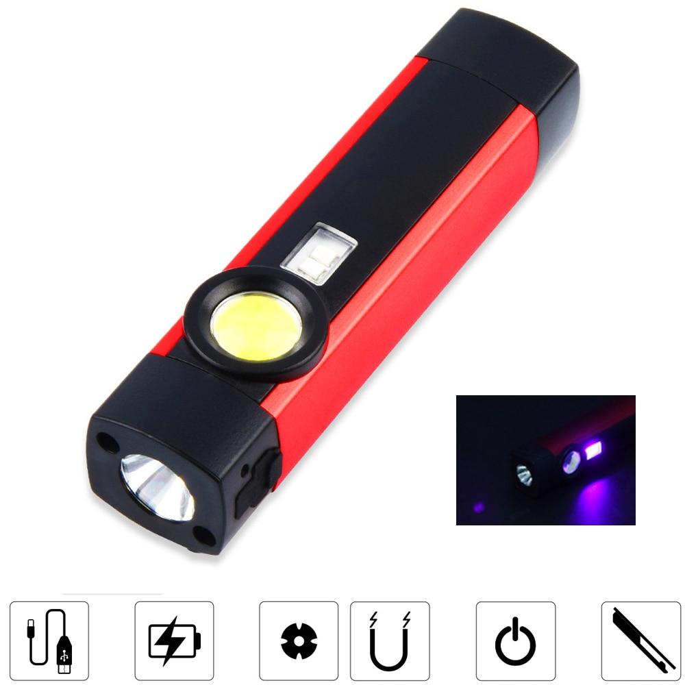 5W XPE COB UV LED Work Light Pen Clip Flashlight 1200mAh USB Rechargeable Inspection Lamp Waterproof Camping Tent Lantern