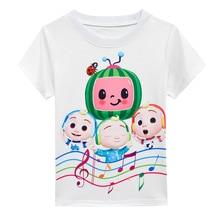2021 Summer Baby Cocomelon T Shirt Kids Cartoon Clothes Baby Boys Cotton Tshirt Toddler Girl Short Sleeve Tops Watermelon Skirts