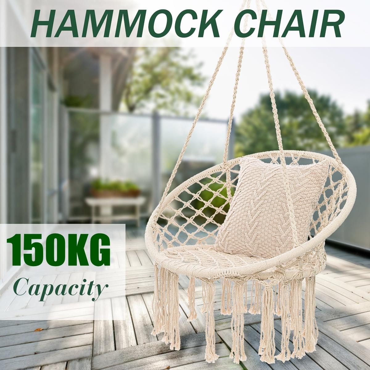 Round Hammock Round Hammock Swing Hanging Chair Outdoor Indoor Furniture Hammock Chair for Garden Dormitory Child Adult 1
