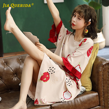New Girl Sleep Dress Night Dress Nightgown Short Sleeve Fashion Style Crew Neck Long Shirt Smart Casual Home Dress Nightwear