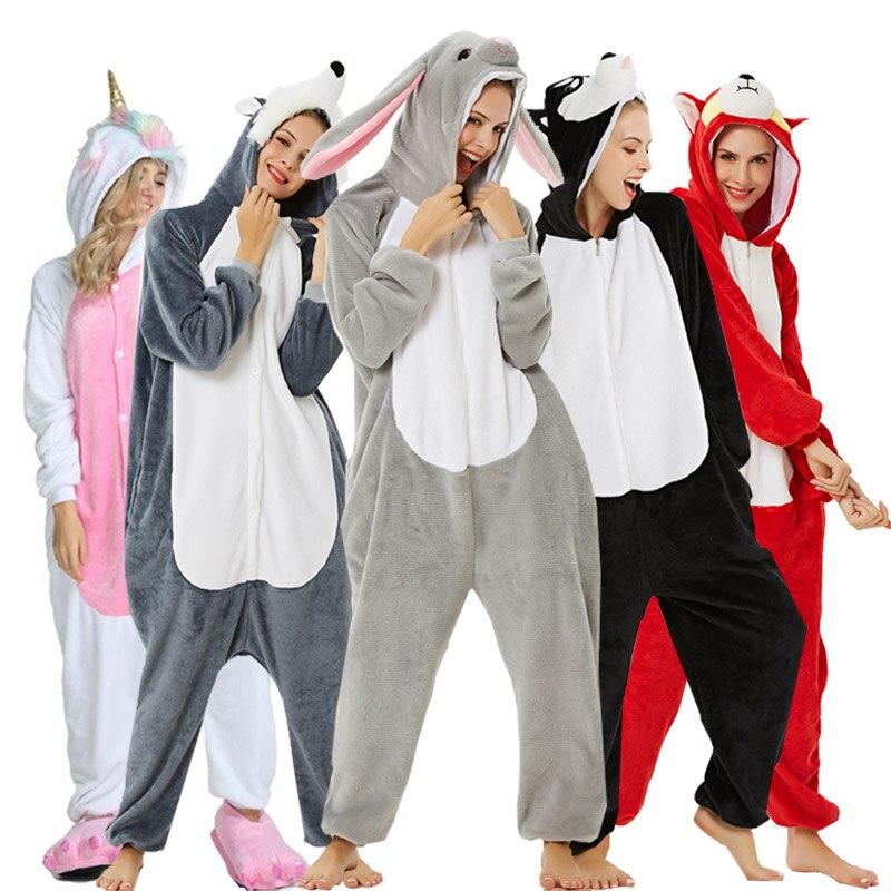 2020 Adults Animal Pajamas Cartoon Sleepwear Unicorn Pajamas Sets Stitch Shark Kigurumi Unicornio Women Men Warm Flannel Hooded