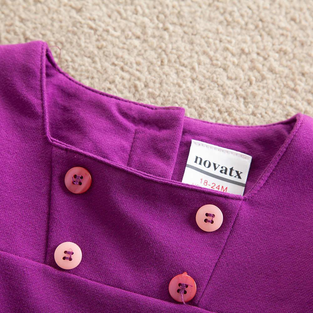 JUXINSU Sonbahar Kış Pamuk Kızlar Uzun Kollu Elbiseler Hayvan Işlemeli Elbise Kız 1-5 Yıl