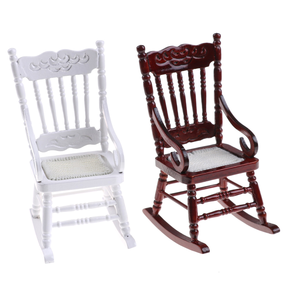 1:12 Scale Dollhouse Miniature Furniture Wooden Rocking Chair Hemp Rope Seat For Dolls House Accessories Decor Toys 1pc 2 Colors