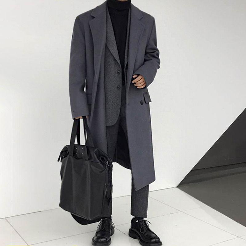 Winter Thick Woolen Coat Men's Warm Fashion Solid Color Casual Korean Woolen Coat Men Streetwear Loose Long Woolen Jacket Mens