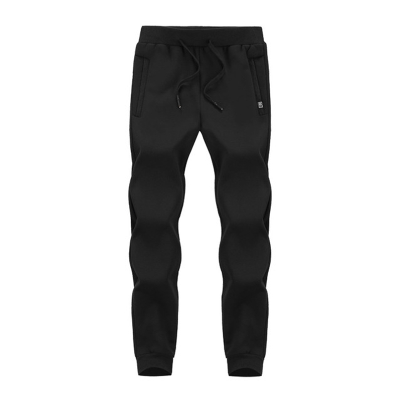 Зимние спортивные штаны для мужчин плюс бархатные теплые толстые теплые штаны из овчины мужские повседневные штаны 8XL 7XL 6XL 5XL - Цвет: Черный