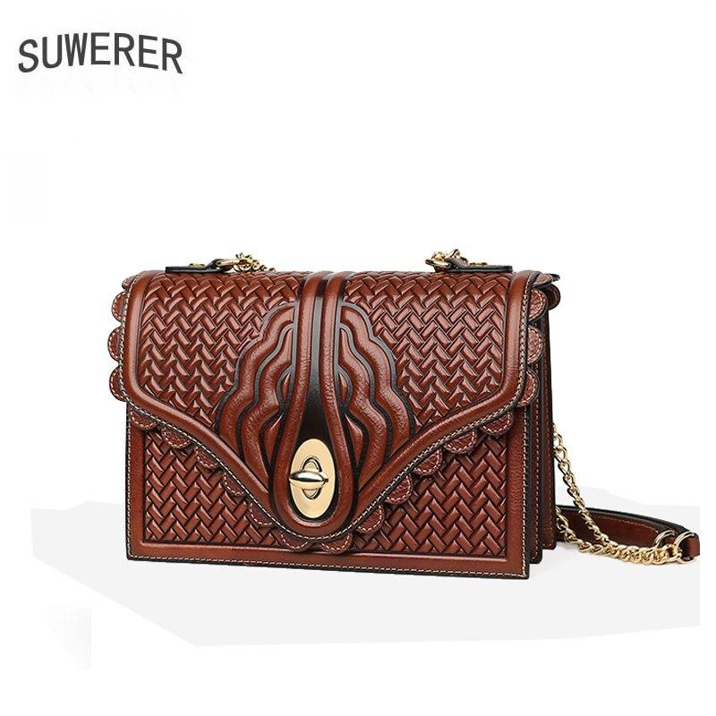 SUWERER Women Genuine Leather bag fashion cowhide bag designer bags famous brand women bags 2019 new luxury handbags women bags