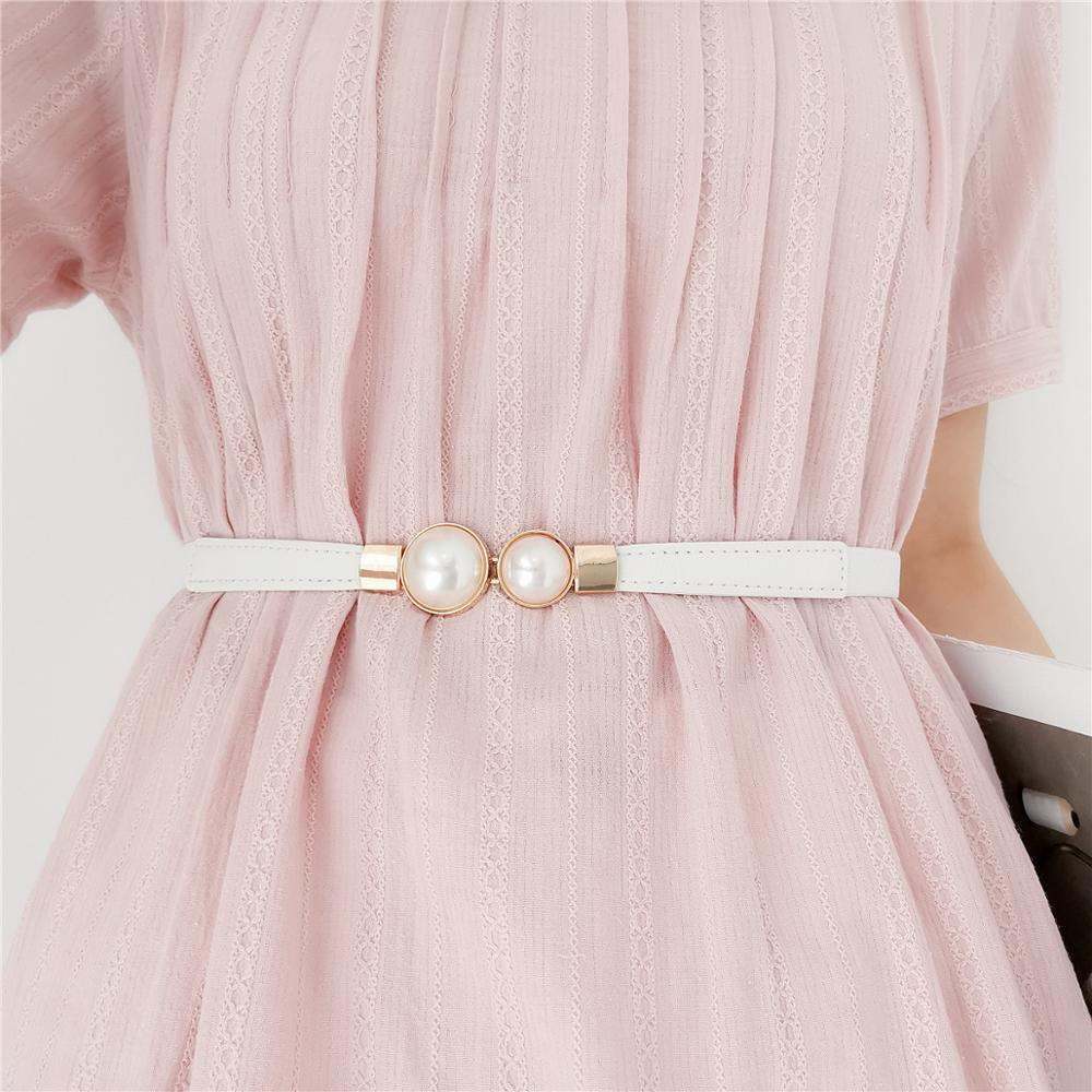 Thin Elastic Rubber Band Waistband Double Faux Pearl Glitter Gold Buckle Belts Gifts For Women Wedding Dress Stretch Waist Belt