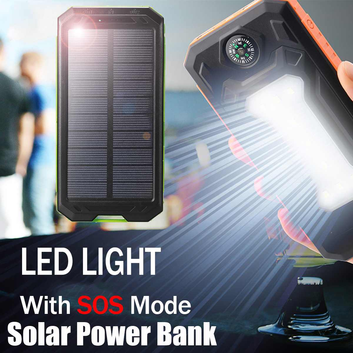 12000mAh Solar Power Bank Portable External Battery Solar Powerbank Charger 2 USB Ports LED lights SOS mode compass for Phone|Power Bank Accessories| |  - title=