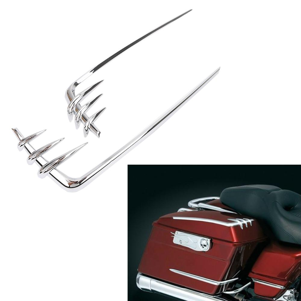 Image 5 - Motorcycle Saddlebag Lid Accents For Harley Davidson Touring Electra Street Tour Glide Road King 1993 2013 Chrome Tool Cover-in Covers & Ornamental Mouldings from Automobiles & Motorcycles