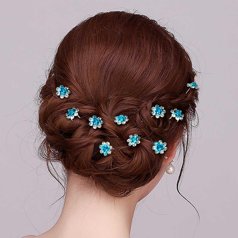 1PC Wanita Pengantin Pernikahan Crystal Diamante Bunga Mawar Jepit Rambut Klip Jepit Rambut Tongkat Rambut Braider Alat Styling Rambut Aksesoris
