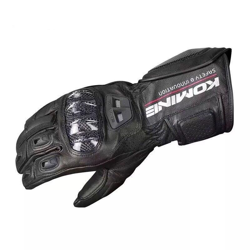 Komine GK 198 перчатка с сенсорным экраном для скутера мотоцикла, черные длинные кожаные перчатки