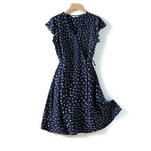 Large size flying sleeves imitation mulberry silk tea break dress female summer 2021 new retro blue tie V-neck floral dress
