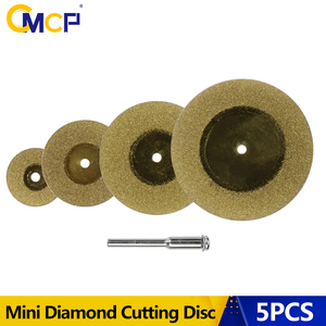 CMCP 5pcs Mini Diamond Cutting Disc For Dremel Rotary Tools Accessories TiN Coated Circular Saw Blade With 3mm Shank Mandrel