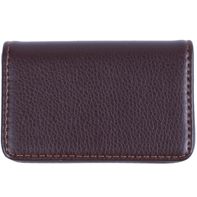 Magnetic Flip Leather Business Credit Card Case Holder Brown