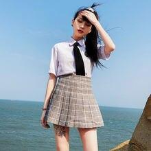 Юбка женская плиссированная с высокой талией модная Милая Мини