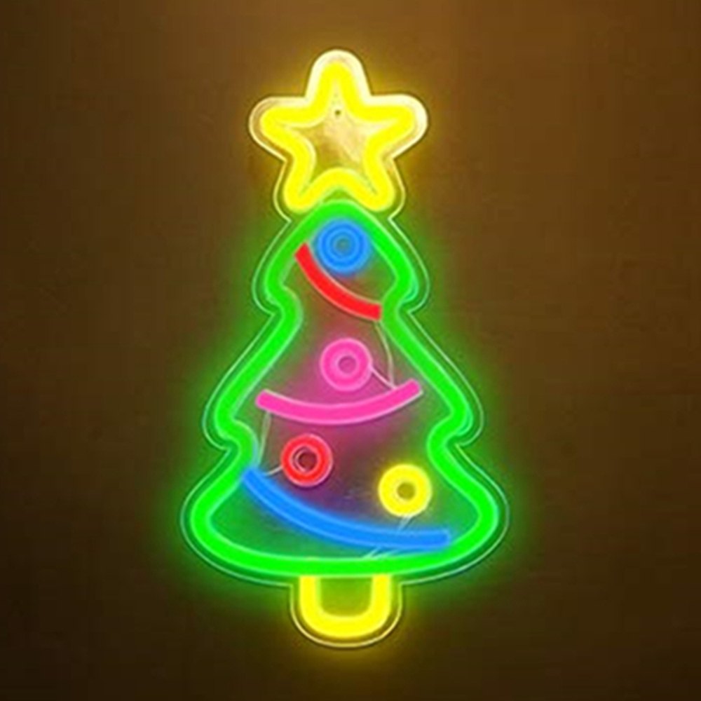 Christmas Tree Shaped Led Neon Sign Cute Panel Light Neon Pub Room Pastry Display Commercial Christmas Party Wedding Decorations