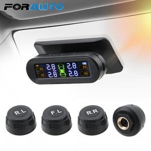 Image 1 - Araba lastik basıncı monitörü sıcaklık uyarı yakıt tasarrufu güneş TPMS lastik basıncı izleme sistemi 4 harici sensörler ile
