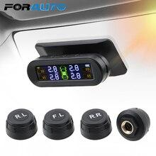 Monitor de pressão dos pneus do carro temperatura aviso combustível economia solar tpms sistema monitoramento pressão dos pneus com 4 sensores externos