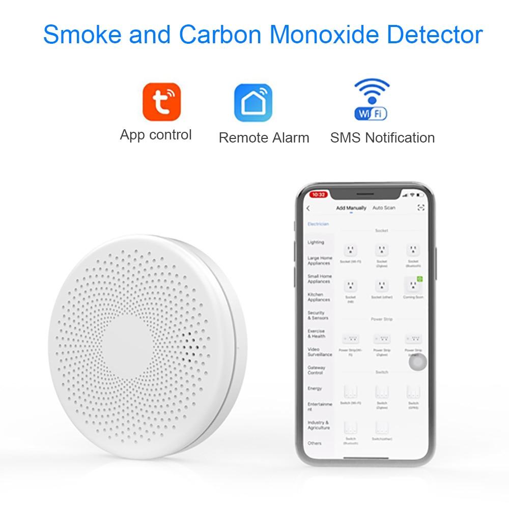 Carbon Monoxide Detector Wifi Tuya Smart CO Alarm CO Detector Alarm Smoke Sensor 85db Voice Warn Safety Security Protection LED