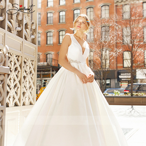 Image 4 - BAZIIINGAAA  Luxury Wedding Dress Satin V neck Sleeveless Bridal Luxury Crystal Decoration Wedding Dress Support Tailor made