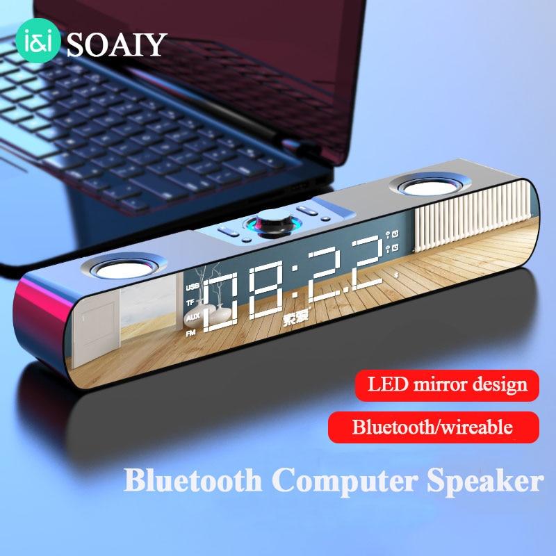 SOAIY multimedia bluetooth speaker subwoofer with LED display Clock soundbar for TV computers louldspeaker for home theater