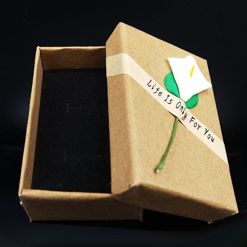 1PCS Jewelry Gift Box Pendant Case Display For Earring Necklace Bracelet Beauty Jewelry Box Retro Kraft Jewelry Box Cardboard