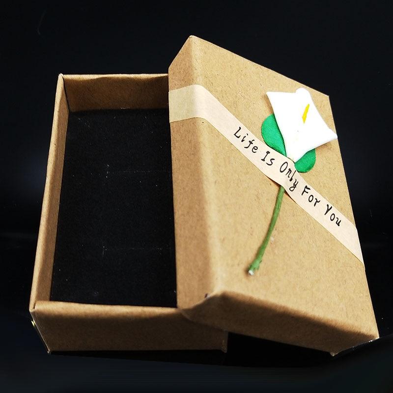 2PCS Jewelry Gift Box Pendant Case Display For Earring Necklace Bracelet Beauty Jewelry Box Retro Kraft Jewelry Box Cardboard