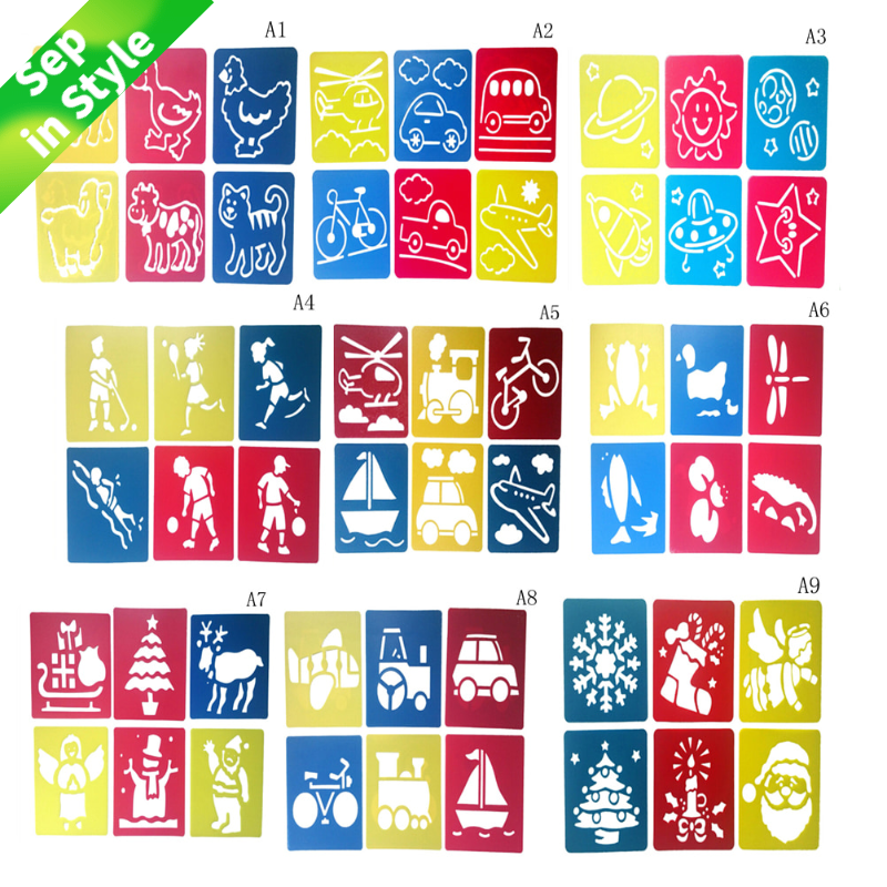 6Pcs Children Multi Shaped Plastic Rulers Painting Drawing Template Stencil Kids Children Learning Art Tool Colorful Drawing Toy
